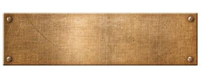 Placa de metal o nameboard de cobre estrecha vieja con el ejemplo de los remaches 3d ilustración del vector
