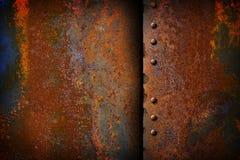 Placa de metal oxidada com uma emenda Imagens de Stock Royalty Free