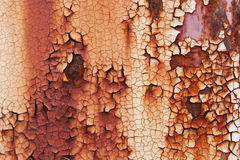Placa de metal oxidada velha que muda de branco à cor vermelha Fotografia de Stock