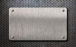 Placa de metal sobre el ejemplo del fondo 3d de la rejilla del peine stock de ilustración