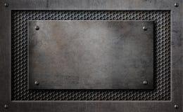 Placa de metal sobre el ejemplo del fondo 3d de la rejilla del peine libre illustration