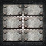 Placa de metal velha na parede metálica Fotografia de Stock
