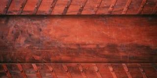 Placa de metal vermelha oxidada com fundo dos parafusos, bandeira ilustração 3D Imagem de Stock