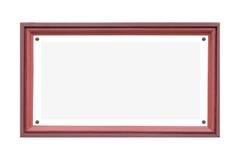 Placa de nome de madeira vazia isolada no branco Fotos de Stock