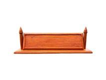 Placa de nome de madeira vazia no fundo branco Fotografia de Stock