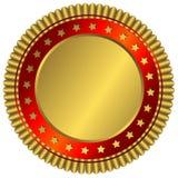 Placa de oro con el anillo rojo y estrellas de oro Imagenes de archivo