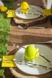 Placa de Pascua con el huevo y el amento de la decoración Foto de archivo libre de regalías