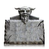 Placa de pedra do sinal com cabeça do diabo, espaço da cópia e trajeto de grampeamento imagens de stock royalty free