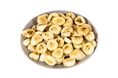 Placa de plátanos cortados Foto de archivo libre de regalías