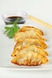 Placa de Potstickers frito chino jugoso fotos de archivo libres de regalías