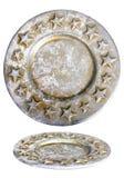 Placa de prata do Natal com estrelas Fotos de Stock Royalty Free