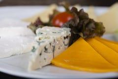 Placa de queso con el tomate de cereza Imagen de archivo