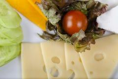 Placa de queso con el tomate de cereza Foto de archivo