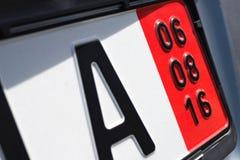 Placa de registro alemana para que vehículos sean exportados Imagen de archivo libre de regalías