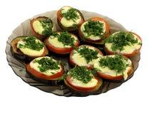 Placa de sanduíche com beringela, tomate e erva-doce Foto de Stock