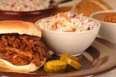 Placa de sanduíche puxada da carne de porco Imagens de Stock