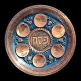 Placa de Seder del Passover de la vendimia Fotos de archivo