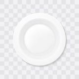 Placa de sopa blanca vacía Vector realista del cuenco de la visión superior Fotos de archivo libres de regalías