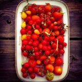 Placa de tomates Imagen de archivo libre de regalías