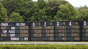 Placa de Tote da corrida de cavalos Fotografia de Stock