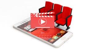Placa de válvula do filme do cinema, cadeiras do teatro e um smartphone isolado no fundo branco ilustração 3D Imagem de Stock Royalty Free