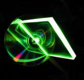 Placa de vidro em um CD Fotografia de Stock Royalty Free