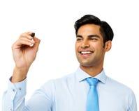 Placa de Writing On Transparent do homem de negócios Imagens de Stock