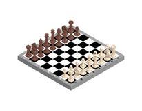 Placa de xadrez com figuras Isolado no fundo branco ilustração royalty free