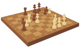 Placa de xadrez com partes ilustração do vetor
