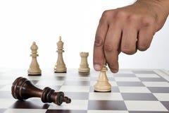 Placa de xadrez com partes de xadrez Foto de Stock