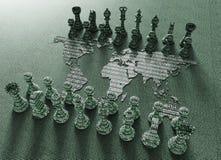 Placa de xadrez do mapa do mundo de Digitas com jogo da xadrez ilustração royalty free