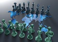 Placa de xadrez do mapa do mundo de Digitas com jogo da xadrez ilustração do vetor