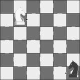 Placa de xadrez e partes dos cavalos - jogo do labirinto para crianças Fotografia de Stock
