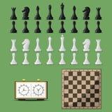 Placa de xadrez e vetor das peças do jogo de xadrez Imagens de Stock Royalty Free