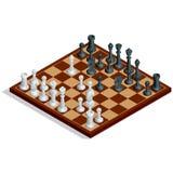 Placa de xadrez, jogo de xadrez Xadrez no tabuleiro de xadrez Conceito de vencimento Ilustração isométrica do vetor 3d liso Foto de Stock
