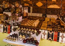 Placa de xadrez de madeira das lembranças armênias imagem de stock royalty free