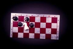 Placa de xadrez no fundo escuro Fotos de Stock