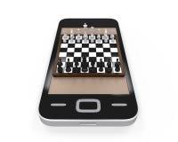 Placa de xadrez no telefone celular ilustração stock