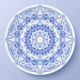 Placa decorativa azul do ornamento floral do vetor Imagens de Stock Royalty Free
