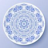 Placa decorativa azul do ornamento floral do vetor Imagem de Stock