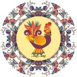 Placa decorativa com o ornamento floral bonito e o galo novo bonito dos desenhos animados Imagens de Stock
