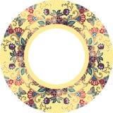 Placa decorativa com o ornamento floral bonito no fundo amarelo Fotografia de Stock Royalty Free