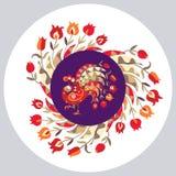 Placa decorativa com ornamento floral e o pavão bonito dos desenhos animados Imagens de Stock