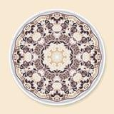 Placa decorativa com ornamento redondo Foto de Stock Royalty Free