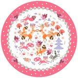 Placa decorativa com os animais para crianças Raposas bonitos, esquilos, unicórnios e guaxinim dos desenhos animados em um quad ilustração do vetor