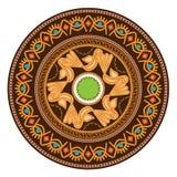 Placa decorativa con el ornamento redondo en estilo tribal étnico de los símbolos Ilustración del vector stock de ilustración
