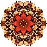 Placa decorativa con el tulipán rojo y el ornamento redondo en estilo étnico Estampado de plores de la mandala Colecci?n hermosa stock de ilustración
