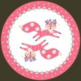 Placa decorativa da porcelana para crian?as Pouco raposas cor-de-rosa engra?adas est? perseguindo-se Cole??o bonita ilustração do vetor