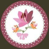 Placa decorativa para crian?as L?rio roxo grande Os esquilos pequenos est?o sentando-se em seus folhas pequenas e ch? de camomila ilustração stock