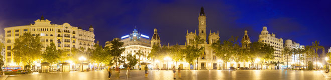 Placa del Ajuntament in evening. Valencia Stock Photo